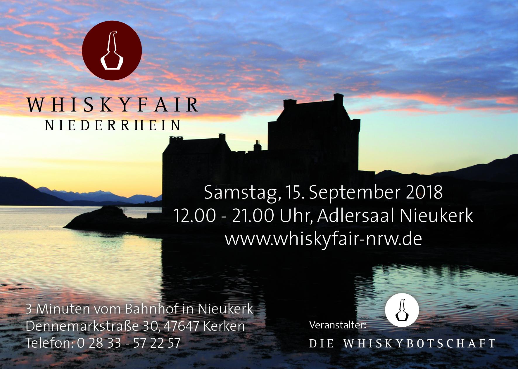 Am 15. September 2018 startet die 4. Whiskymesse am Niederrhein!