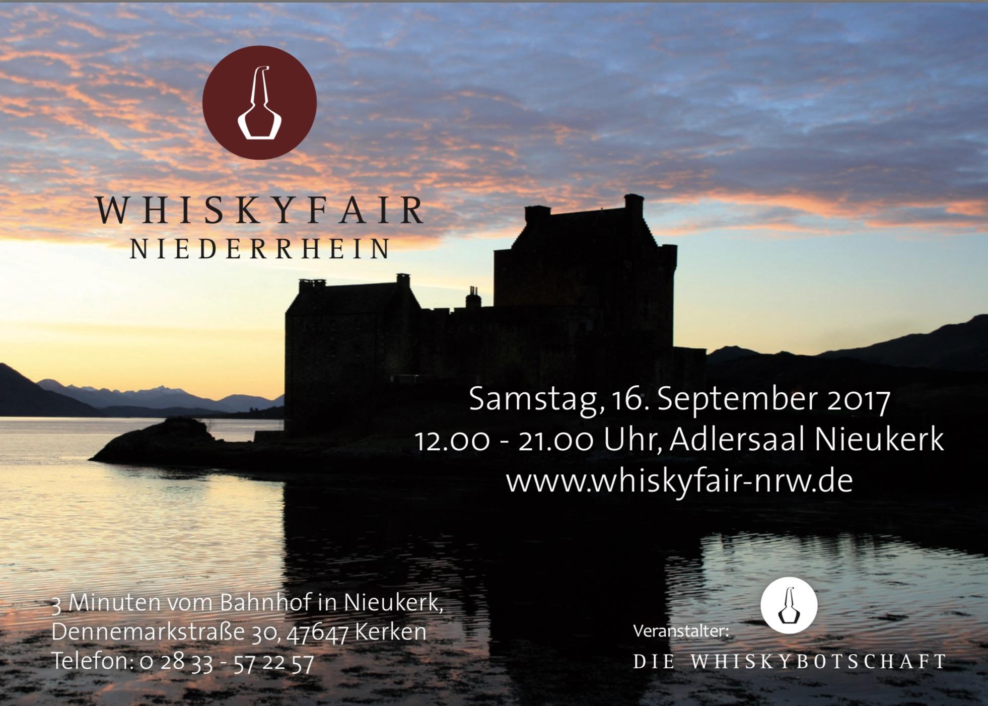 Am 16. September 2017 startet die 3. Whiskymesse am Niederrhein!