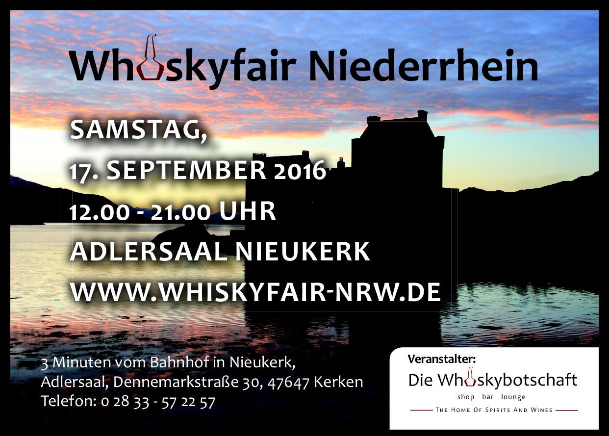 Am 17. September 2016 startet die zweite Whiskymesse am Niederrhein!